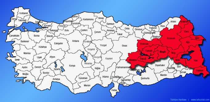 Doğu Anadolu ve Güneydoğu Anadolu Doğudaki il ve ilçelerin Kürtçe Türkçe yer isimleri