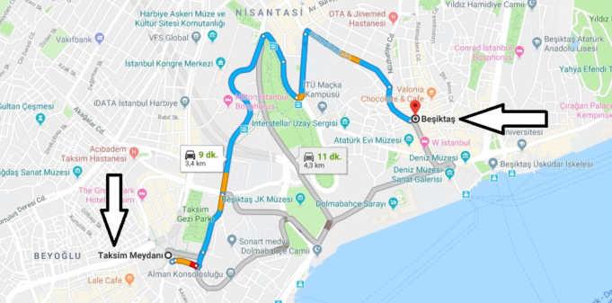 Taksimden Beşiktaş'a Nasıl Gidilir?